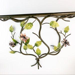 Vintage Wrought Iron Metal Flower Hanging Shelf